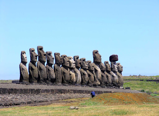 The famed row of 15 moai statues on Easter Island.