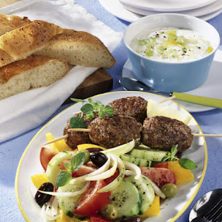 Bifteki Skewers with Greek Salad