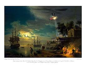 """Photo: Version 30x40 """"Clair de lune sur le port"""" d'après Vernet. (1773)"""