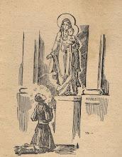 """Photo: Irena Dybowska, drzeworyt. Ilustracja do broszury """"KŁOSY Z BOŻEJ ROLI"""", wyd. 1935 r. Bł. Andrzej jako młodzieniec ofiaruje swe serce Bogarodzicy."""