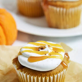 Pumpkin Caramel Cupcakes with Whipped Mascarpone Frosting.
