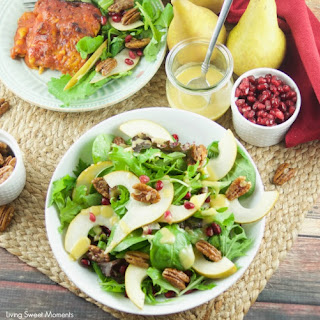 Candied Pecan Pear Salad with Pomegranates.