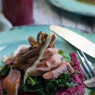 Smoked Ocean Trout, Beetroot Hummus and Lemon Kale