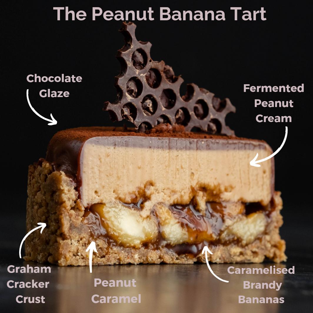 The Peanut Banana Tart on a shiny surface