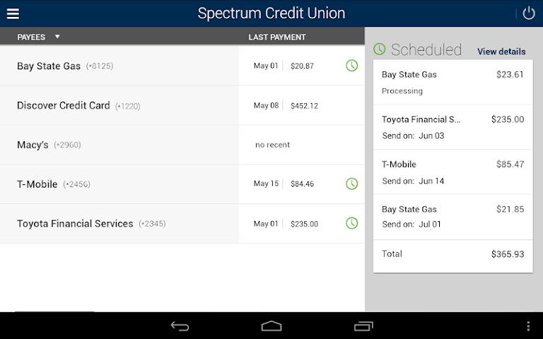android Spectrum CU Mobile Banking Screenshot 8