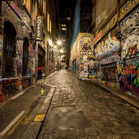 Hosier Lane, Melbourne, Vic, Australia by Linda Brown - City,  Street & Park  Night