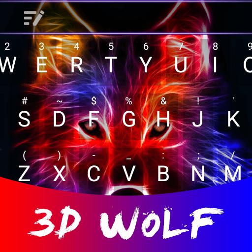 3D Wolf Theme&Emoji Keyboard