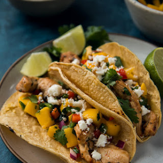 Chili Lime Marinated Chicken Tacos With Mango Salsa.