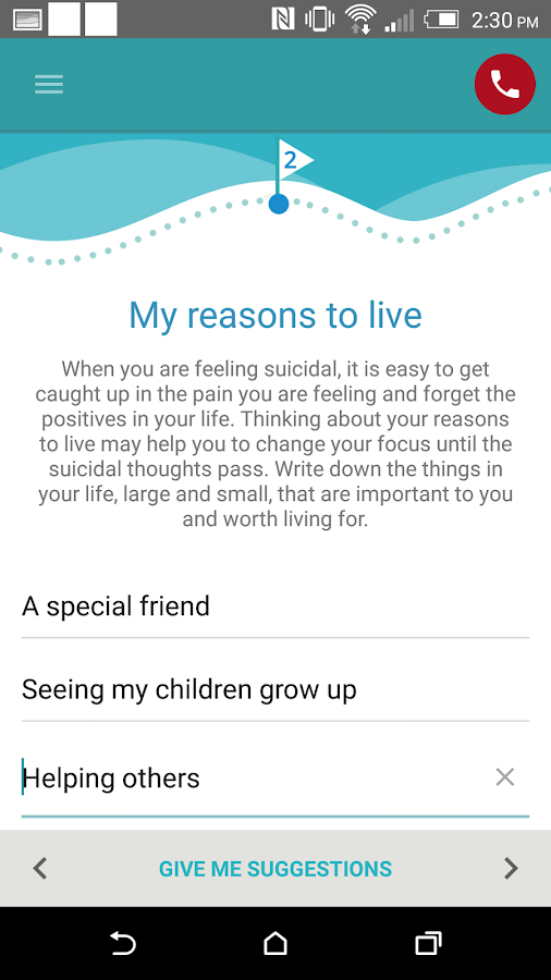BeyondNow suicide safety plan- screenshot