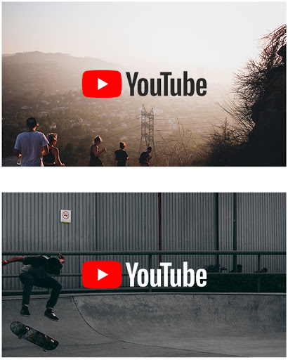 Full-color YouTube logo on full-color backgrounds
