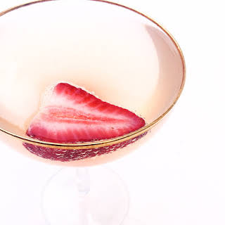 Strawberry Rhubarb Champagne Cocktail.