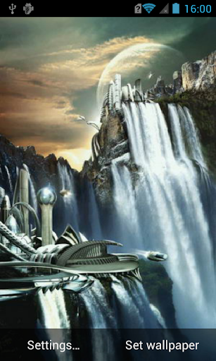Waterfall in future city LWP
