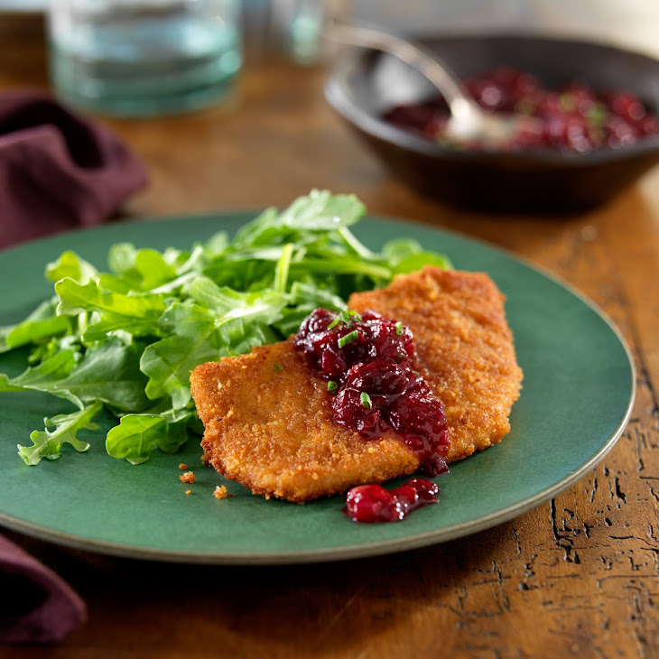 Ginger-Crusted Pork Cutlets with a Cinnamon Orange-Cranberry Chutney and Wilted Arugula Recipe