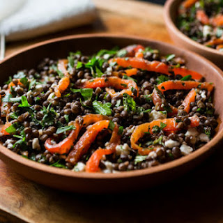 Lentil and Herb Salad With Roasted Peppers and Feta