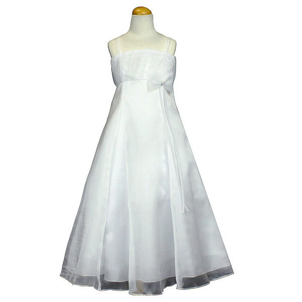 Photo: White FlowerGirl Dress with Rhinestone Bow: This white flowergirl dress has a fun flare with a sophisticated style. This is the perfect choice for your little girl who has been asked to be a flowergirl or if she is attending a formal event such as her first communion ceremony or even graduation. This white girls dress is made of beautiful organza and offers a A-line style cut. It also features a fun rhinestone enhanced bow on the bodice and tiny sprinkles of sparkles across the chest. For a finishing touch, it comes with a matching white shawl that can be worn around the neck or around your little angels arms. This breathtaking white flower girl dress will positively take your breath away.