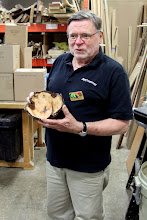 Photo: Richard Webster begins the Show Tell & Ask period with his natural-edge willow bowl.