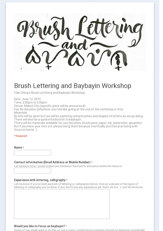 Brush Lettering and Baybayin Workshop