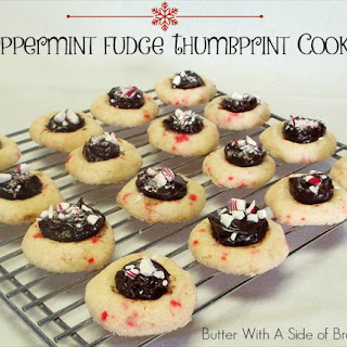 Peppermint Fudge Thumbprint Cookies