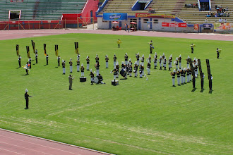 Photo: Most of the bands played in formation, then moved.  Not much playing-while-moving action like we're used to.