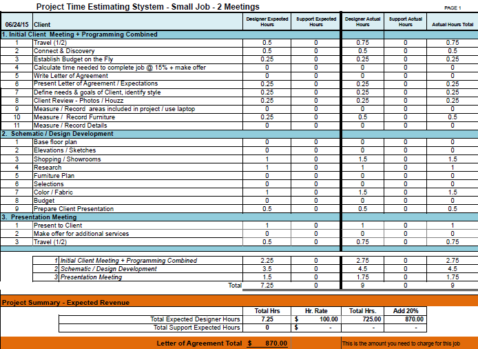 Interior design estimate template for Estimation and costing in interior designing