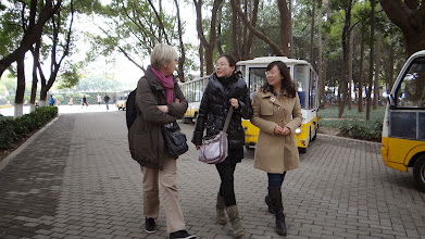 Photo: Walking with Miss Bo TONG, electric minibuses transport students