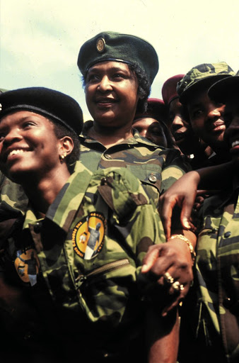 At war: After returning to Soweto in 1985 from her banishment to Brandfort, Winnie Madikizela-Mandela took to wearing military-style outfits. Picture: MBUZENI ZULU