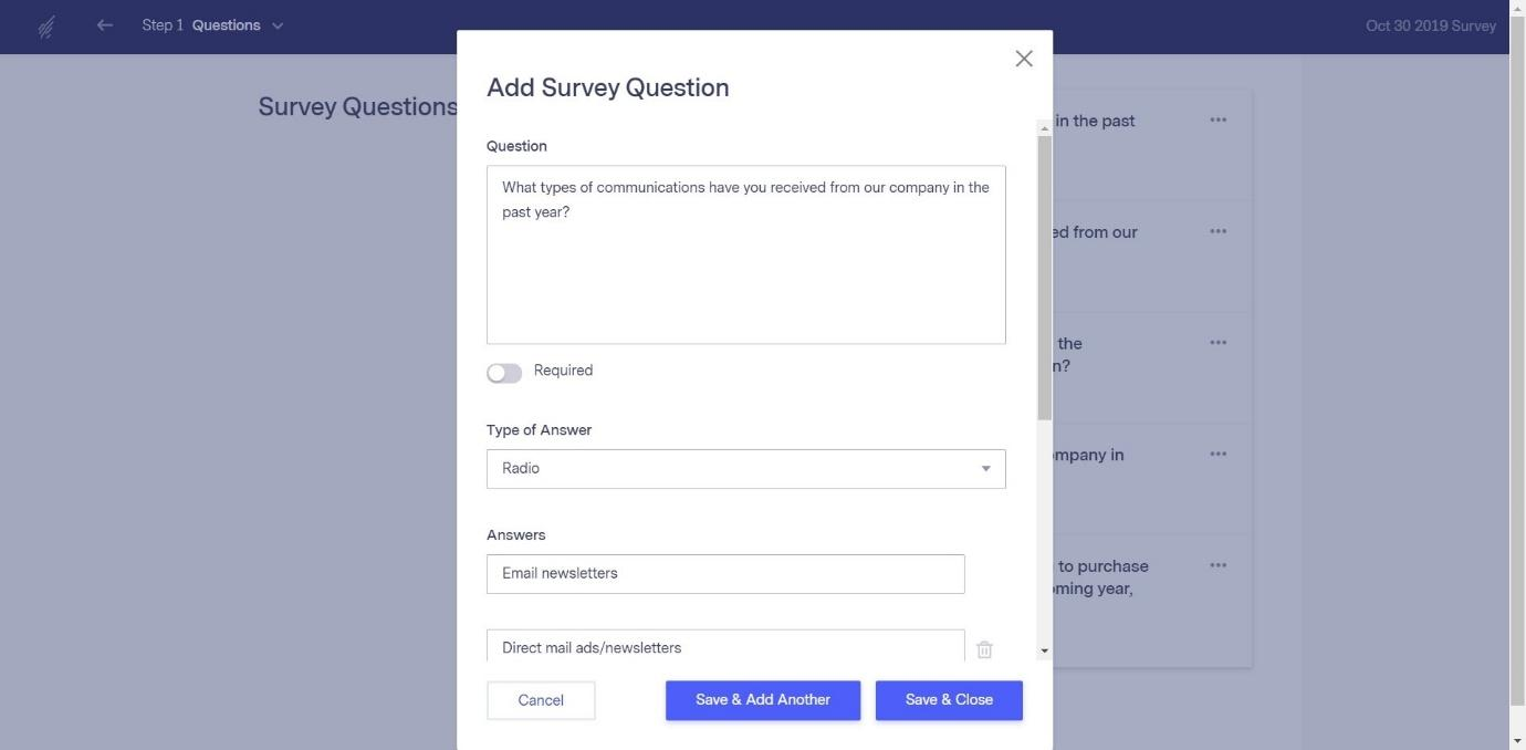 Add Survey Questions in Benchmark