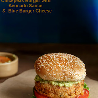 Chickpeas Burger with Avocado Sauce and Blue Burger Cheese