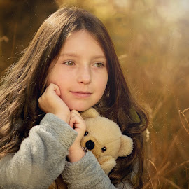 Autumn Fairy Tale by Jiri Cetkovsky - Babies & Children Child Portraits ( bear, autumn, girl, portrait, pet )