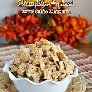 Pumpkin Spiced Sweet Toffee Chex Mix Party Snack