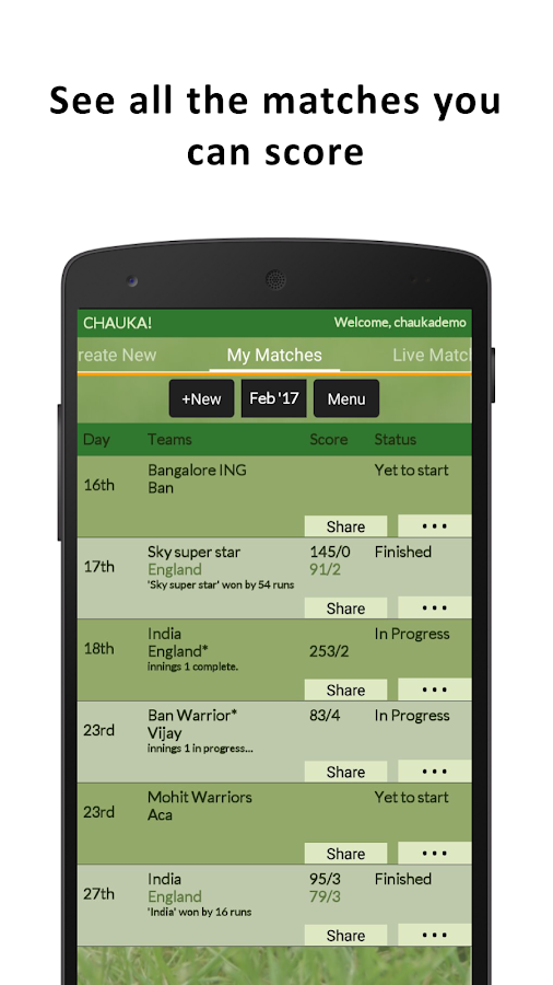 Chauka Cricket Scoring App- screenshot