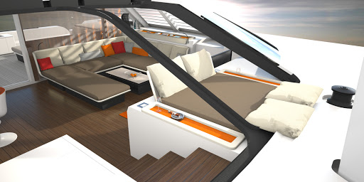 Liberty 82 interior design, sunbed