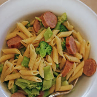 Penne with Bratwurst and Broccoli.