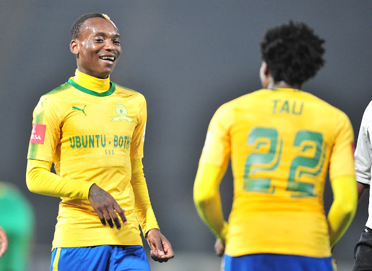Percy Tau celebrates a goal with teammates Khama Billiat of Mamelodi Sundowns during the Absa Premiership match against Baroka FC at Lucas Moripe Stadium, Pretoria on December 5 2017. The pair have since left the club for Kaizer Chiefs and EPL side Brighton Hove & Albion.
