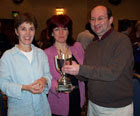 Photo: Jeff Smith & Jackie Pye pictured with Michelle Brunner (centre) presenting the Trophy