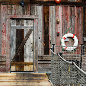 Boat Dock by Jessica Simmons - Buildings & Architecture Other Exteriors ( red, boats, door, dock, life saver )