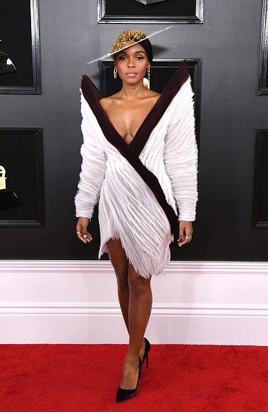 Janelle Monae on the red carpet at the 2019 Grammy awards.