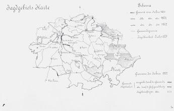Photo: Mapa mysliveckych reviru z 19.stoleti