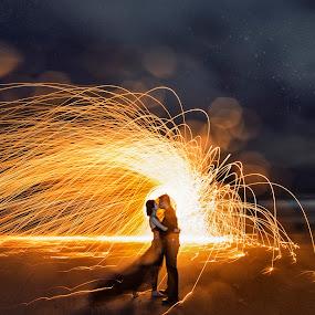 Fireworks kiss by Wee Heong - Wedding Bride & Groom ( love, kiss, wedding, romantic, fireworks, couple, beach )