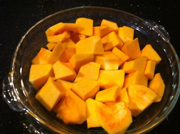 FIRST PUT BUTTERNUT SQUASH CUBES IN PIE PLATE COVRD WITH PLASTIC WRAP N NUKE...