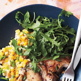 Vinegar-Glazed Chicken with Creamed Corn.