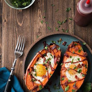 Baked Sweet Potato & Egg Breakfast Boats.
