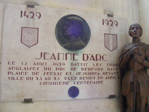 Photo: This church plaque marks the 500th anniversary of the battle between the forces of Joan of Arc and the Duke of Bedford on the Senlis plain.
