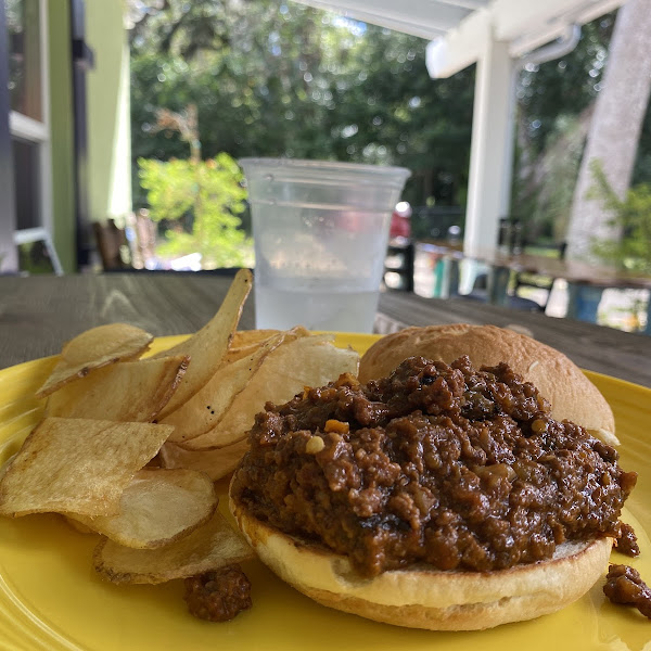 GF Bread Sloppy Joe and fresh chips