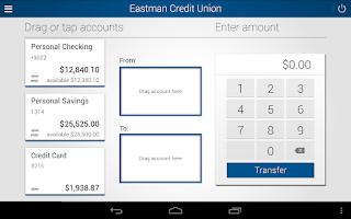 Screenshot of Eastman Credit Union Mobile