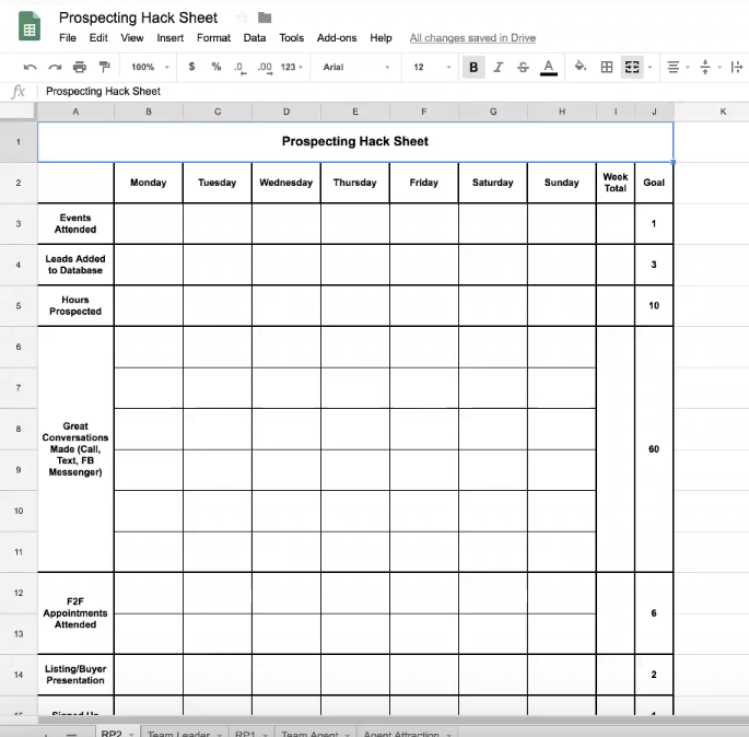 """An Excel spreadsheet labeled """"Prospecting Hack Sheet"""""""