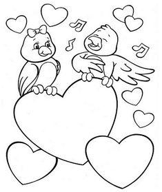 Singing bird valentine coloring page
