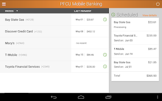 Screenshot of PFCU Mobile