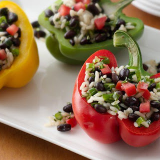 Grilled Black Bean- and Rice-Stuffed Peppers.