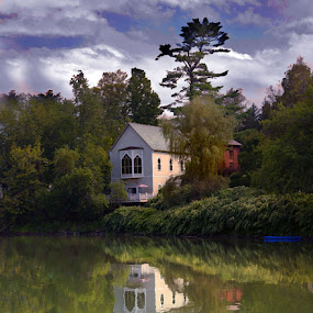 VT by April Brown - Landscapes Waterscapes ( water, green, vt, reflections, boat )